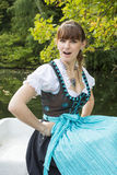 Young woman in dirndl stock photo