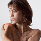 Young Woman With Dirt Stock Image