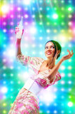 Young woman at the disco. Bright vibrant colors Stock Photos