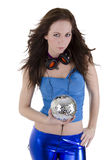 Young woman with disco ball Royalty Free Stock Images