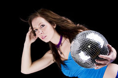 Young woman with disco ball Royalty Free Stock Image