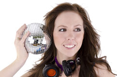 Young woman with disco ball (3) Royalty Free Stock Photo