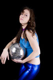 Young woman with disco ball (4) Royalty Free Stock Photography