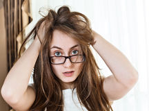 Young woman with disheveled hair Royalty Free Stock Photo