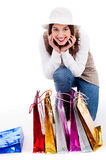 Young woman display all her shopping bags Stock Image