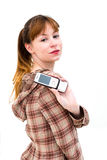 Woman displaying mobile phone Royalty Free Stock Image