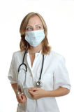 Young woman doctor. Wearing stethoscope Stock Images
