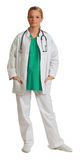 Young Woman Doctor. Image of a young blonde woman doctor isolated against a white background Stock Photography