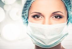 Young woman doctor in cap and face mask Royalty Free Stock Photos