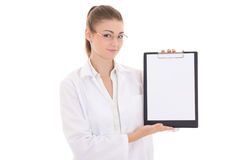 Young woman doctor holding clipboard with copyspace isolated on Stock Images
