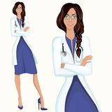 Young woman doctor. Medical professional attractive young doctor assistant employee standing in white lab coat vector illustration Stock Photos