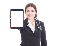 Young woman doctor showing tablet with blank screen or display Stock Image