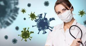 Young woman doctor among viral cells coronavirus.