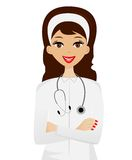 Young woman doctor on white background Stock Photography