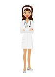 Young woman doctor on white background Stock Images