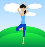 A young woman does physical exercises Royalty Free Stock Image