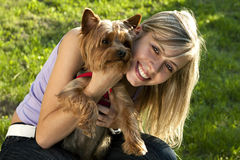 Young woman and dog Royalty Free Stock Photos