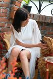 Young woman and dog Stock Photography