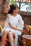 Young woman and a dog Stock Image