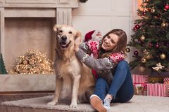 Young woman and dog at christmastime. Attractive smiling girl playing with golden retriever dog at christmastime stock photos