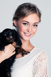 Young Woman and Dog Stock Image