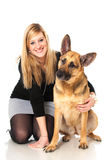 Young woman with dog Royalty Free Stock Images