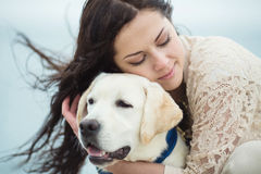 Free Young Woman, Dog Labrador Stock Images - 35885614