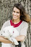 Young woman with a dog Royalty Free Stock Photography