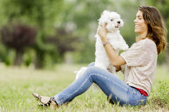 Young woman with a dog. Young woman with a maltese dog Royalty Free Stock Images