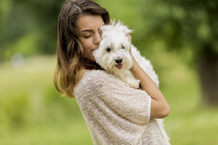 Young woman with a dog Stock Image