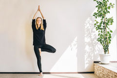 Young woman doing the asana in yoga studio. The tree pose Royalty Free Stock Images
