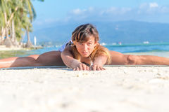 Young woman doing bodyflex, fitness, sport workout out Royalty Free Stock Images