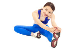 Young woman doing core workout, warm up body stock image
