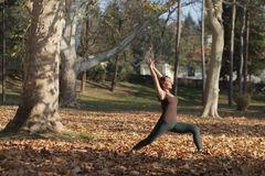 Young woman doing high lunge yoga pose in the park. Young woman doing crescent variation yoga pose outdoors stock images