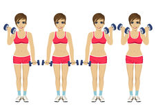 Young woman doing dumbbell exercises. Active lifestyle Royalty Free Stock Images