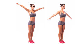 Young woman doing exercise Arm Circles Royalty Free Stock Images