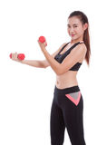 Young woman doing exercise with lifting weights Royalty Free Stock Photos