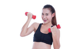 Young woman doing exercise with lifting weights Stock Photo