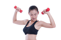 Young woman doing exercise with lifting weights Stock Images