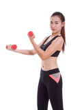Young woman doing exercise with lifting weights Royalty Free Stock Photography