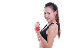 Young woman doing exercise with lifting weights Royalty Free Stock Images