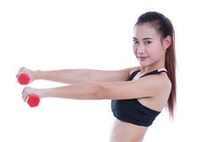 Young woman doing exercise with lifting weights Royalty Free Stock Image