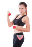 Young woman doing exercise with lifting weights Royalty Free Stock Photo