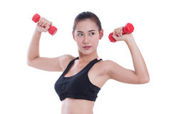 Young woman doing exercise with lifting weights Stock Image