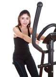 Young woman doing exercises with exercise machine Royalty Free Stock Photography