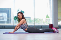 The young woman doing exercises in gym health concept Royalty Free Stock Photos