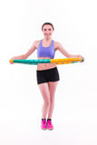 Young woman doing exercises with hoop Royalty Free Stock Photography