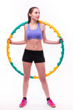 Young woman doing exercises with hoop Royalty Free Stock Photos