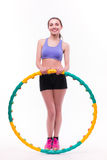Young woman doing exercises with hoop Stock Photos