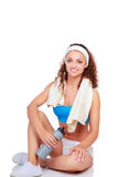 Young woman doing exercises . isolated on white background Stock Image